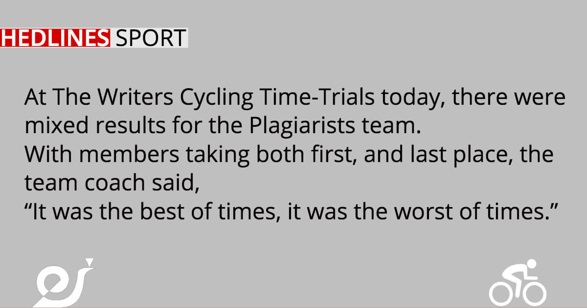 At The Writers Cycling Time-Trials today, there were mixed results for the Plagiarists team.